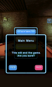 Pool Bar HD -  Quit game screen