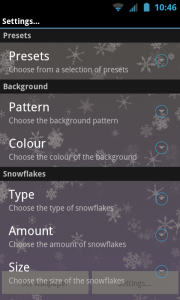 Snowflakes Live Wallpaper - Settings