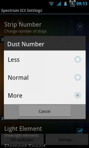 Spectrum ICS Live Wallpaper Pro - Dust number