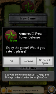 Armored II Tower Defense Annoying Rating Request