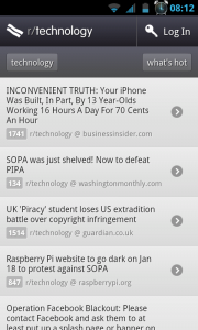 BaconReader - Technology section