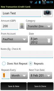 EasyMoney - New transaction