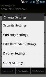 EasyMoney - Settings control