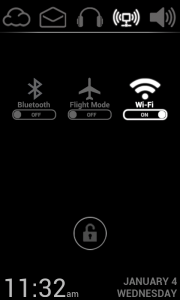 Lucent Lock Screen - BT, WiFi and Flight Mode settings