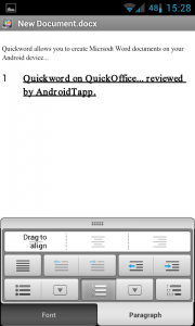 Quickoffice Pro - All the functionality you would expect from a doc creator
