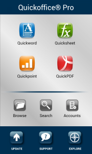 Quickoffice Pro - Main Menu