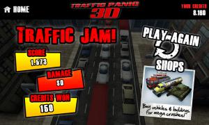 Traffic Panic 3D - Traffic jam end of level screen