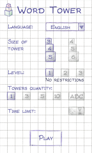 Word Tower - New game settings