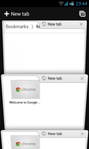 Chrome for Android - 3D effect tabs list