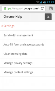 Chrome for Android - Settings
