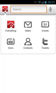 CloudMagic - Search menu selection