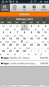 Day-Timer Plan2Go Default Monthly Calendar View