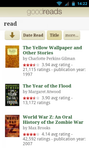 Goodreads - Browse your own book shelf by title etc