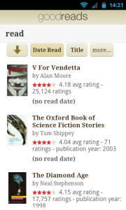 Goodreads - Read list
