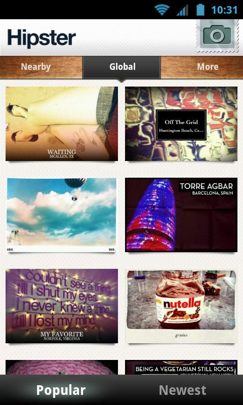 Hipster, a cool Picture Postcard Creator app to share on social networks
