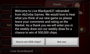 Live Blackjack 21 Pro - Weekly feedback draw