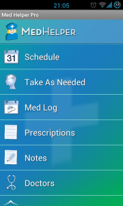 MedHelper - Main menu