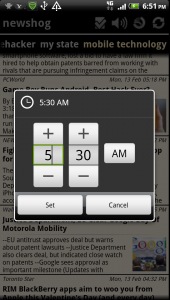 Newshog Google News Reader News Wake Timer