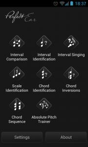 Perfect Ear - Main menu