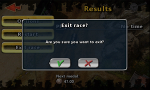 Reckless Racing - Exit screen