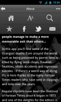 Strange Deaths - Options: Home, Font size, Search, Star and sharing