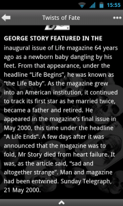 Strange Deaths - Typical story view