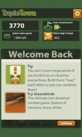 Triple Town - Welcome back page