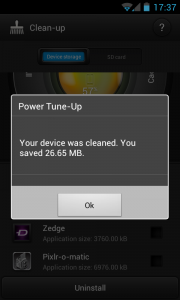 Bitdefender Power Tune-up - Saved storage