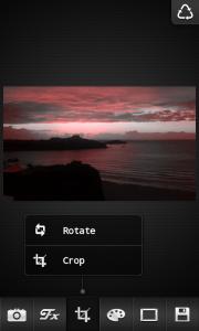 FX Photo Editor - Rotate and crop menu