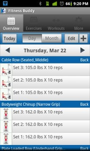 Fitness Buddy Overview by Day
