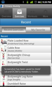 Fitness Buddy Recent Exercises