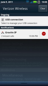 GrooVe IP Missed Call Notification