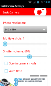 InstaCamera - Settings