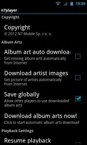 N7player - Settings screen
