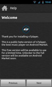 N7player - Welcome screen