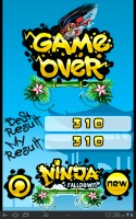 Ninja Falldown Game Over
