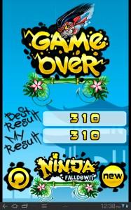 Ninja Falldown Game Over
