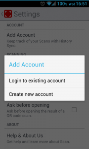 Scan - Create account