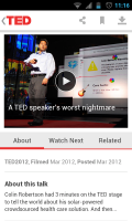 TED - Video screen inc about, watch next and related
