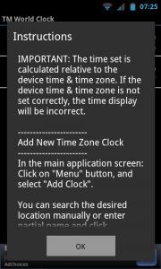 TM World Clock - Instructions
