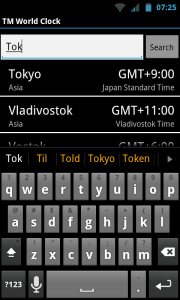 TM World Clock - Predictive suggestions
