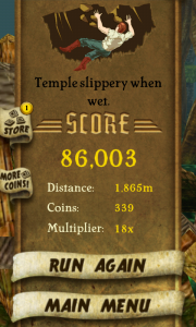 Temple Run - Game over screen