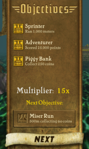 Temple Run - Objectives