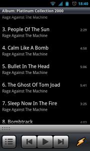 Winamp - Album song list