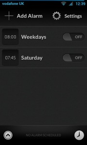 Alarm Clock - Main screen