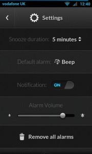 Alarm Clock - Settings