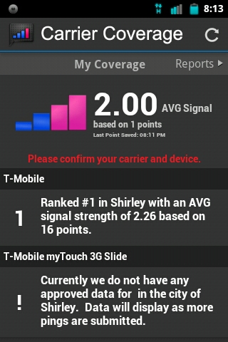 Carrier Coverage lets you see who is the Best Cellphone Carrier in your area