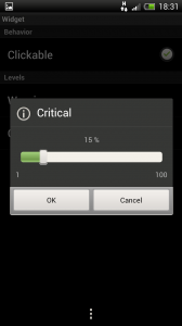 Circle Battery Widget - Warning or critical levels