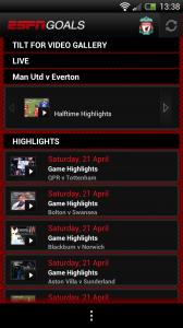 ESPN Goals - Highlights list