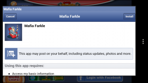 Mafia Farkle - Facebook permissions